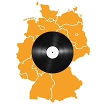 Deutschlandkarte mit Schallplatte